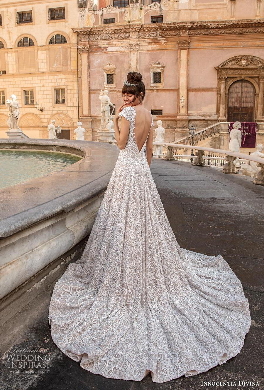 innocentia divina 2020 bridal cap sleeves scoop neck full embellishment romantic a  line wedding dress backless v back chapel train (14) bv