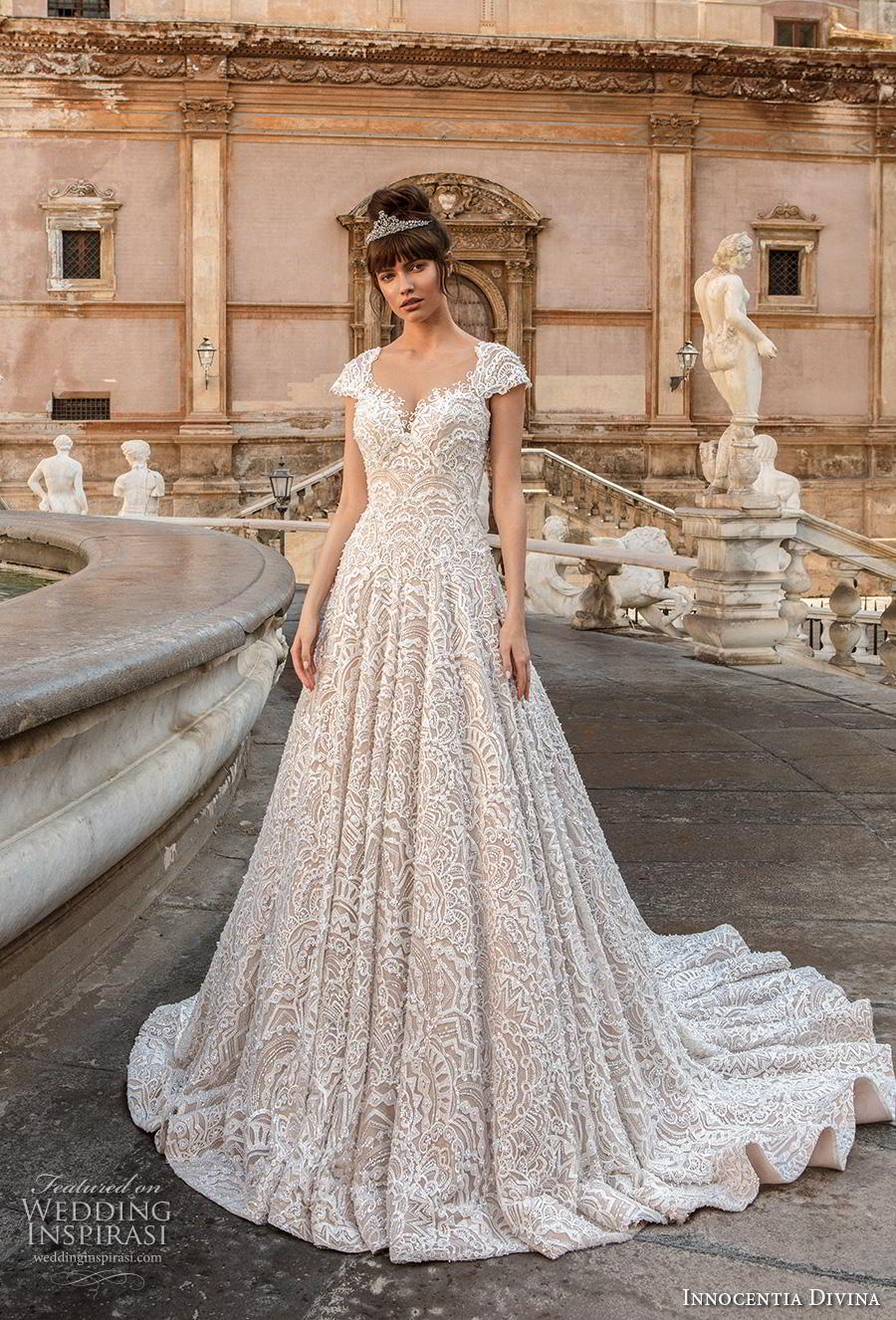 innocentia divina 2020 bridal cap sleeves scoop neck full embellishment romantic a  line wedding dress backless v back chapel train (14) mv