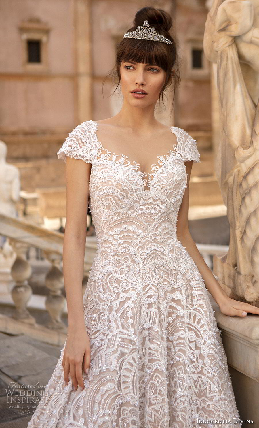 innocentia divina 2020 bridal cap sleeves scoop neck full embellishment romantic a  line wedding dress backless v back chapel train (14) zv
