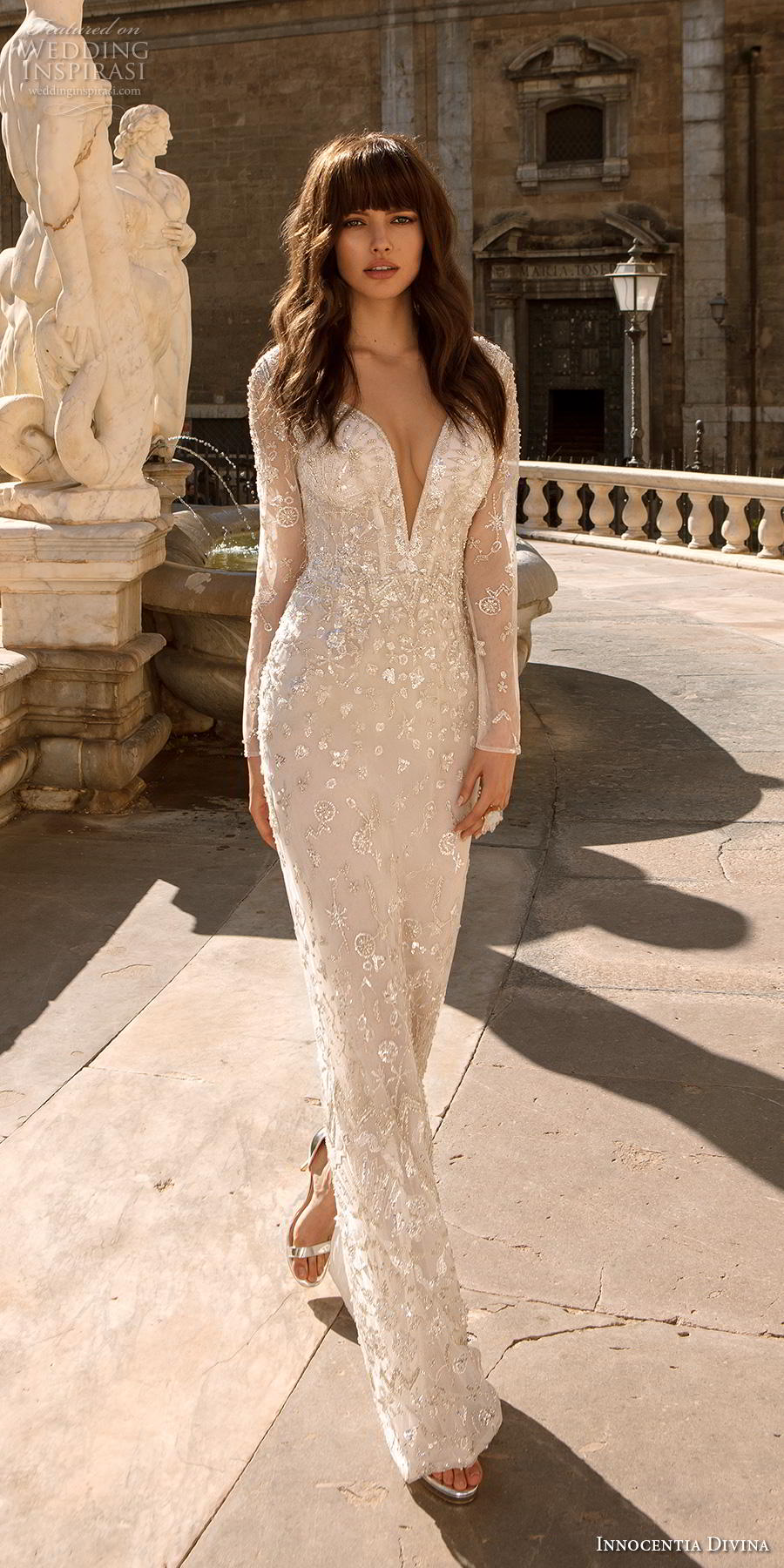 innocentia divina 2020 bridal long sleeves deep v neck full embellishment elegant sheath wedding dress covered lace back sweep train (7) mv