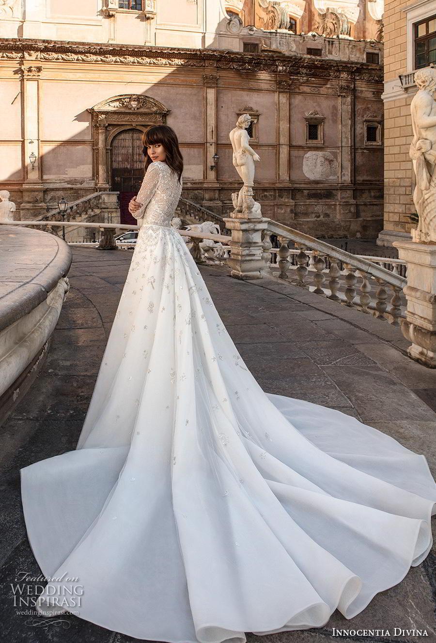 innocentia divina 2020 bridal long sleeves deep v neck full embellishment romantic elegant sheath wedding dress a  line overskirt covered lace back long train (7) bv