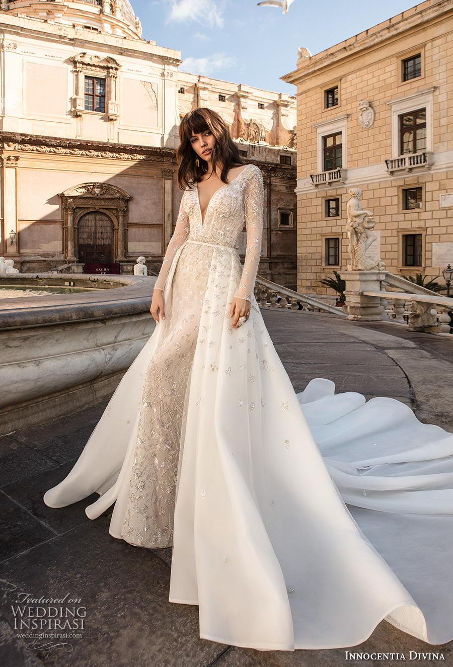 innocentia divina 2020 bridal long sleeves deep v neck full embellishment romantic elegant sheath wedding dress a  line overskirt covered lace back long train (7) mv