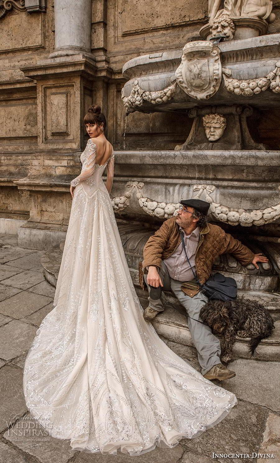 innocentia divina 2020 bridal long sleeves illusion bateau sweetheart neckline full embellishment glamorous romantic a  line wedding dress mid back royal train (4) bv