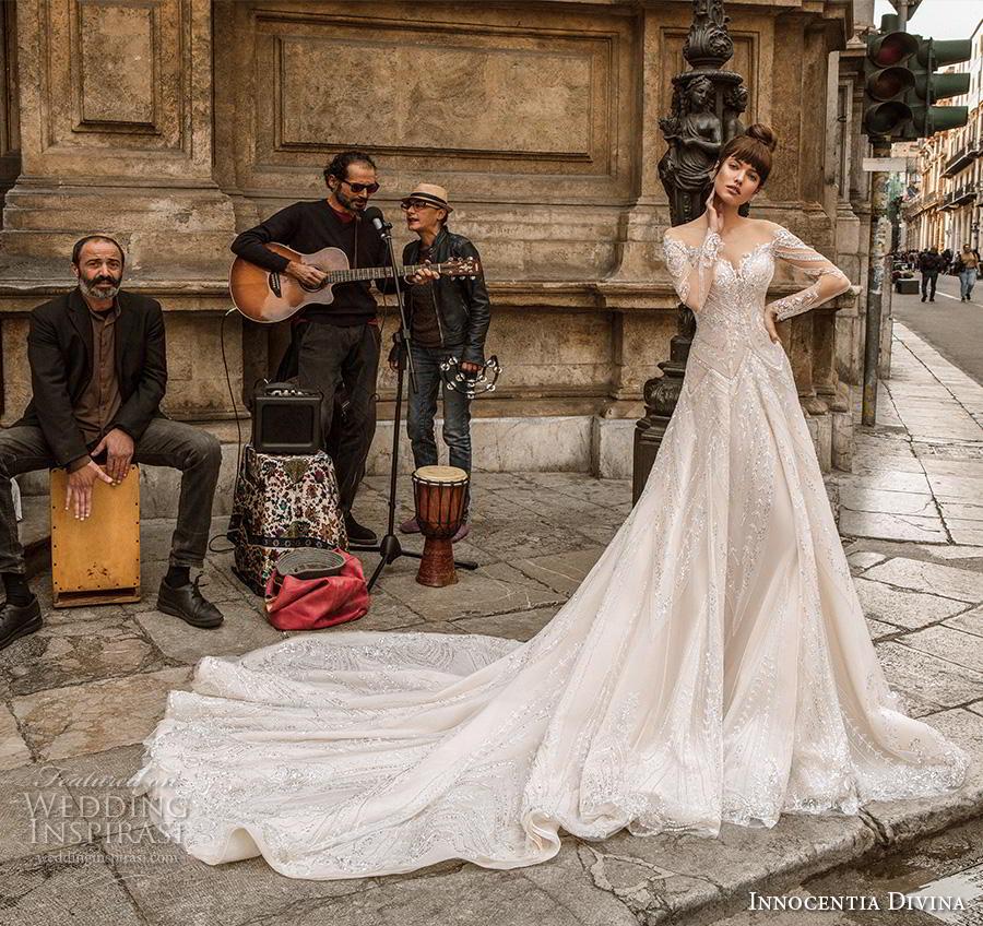 innocentia divina 2020 bridal long sleeves illusion bateau sweetheart neckline full embellishment glamorous romantic a  line wedding dress mid back royal train (4) mv