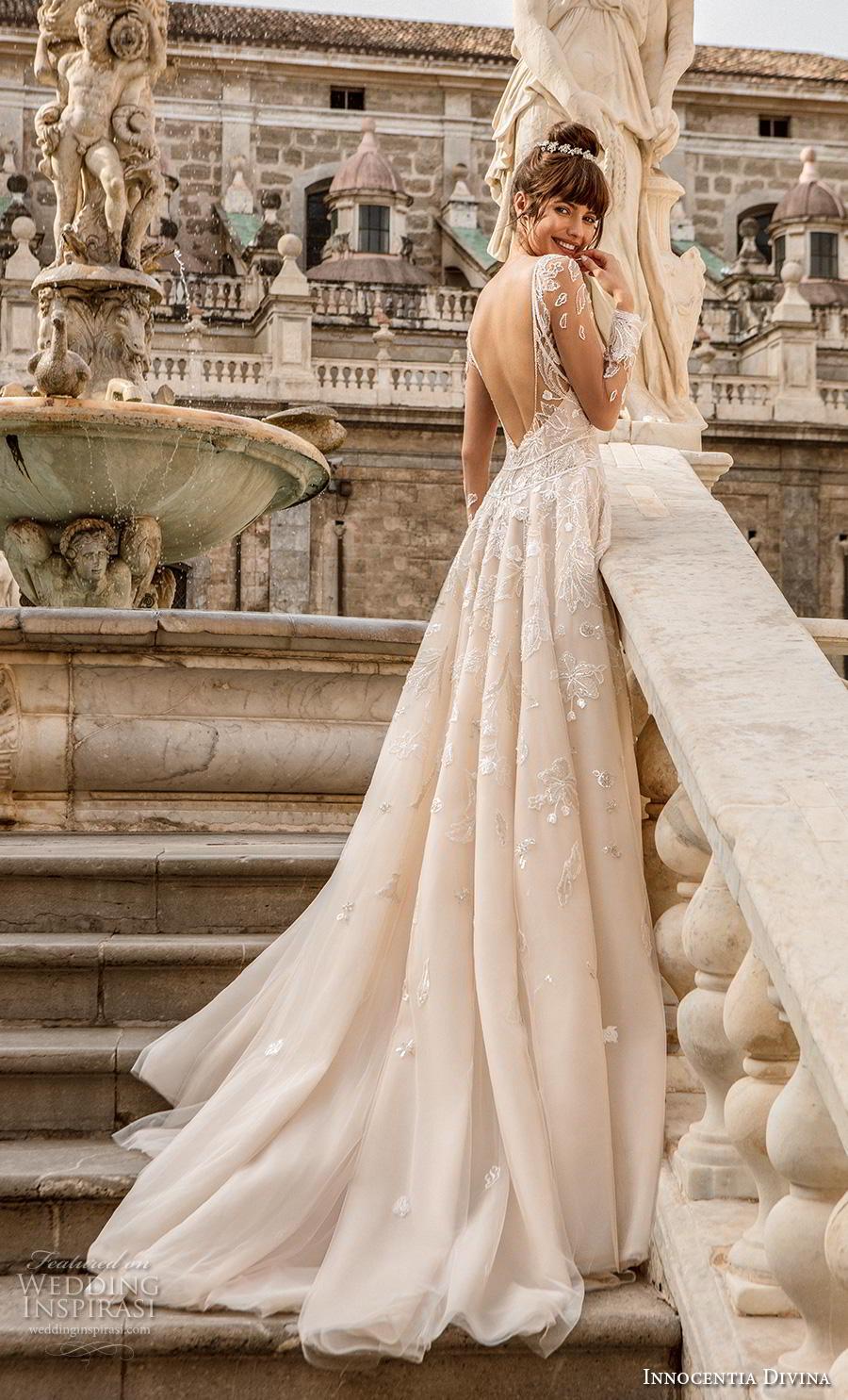 innocentia divina 2020 bridal long sleeves illusion bateau sweetheart neckline full embellishment romantic a  line wedding dress backless chapel train (13) bv