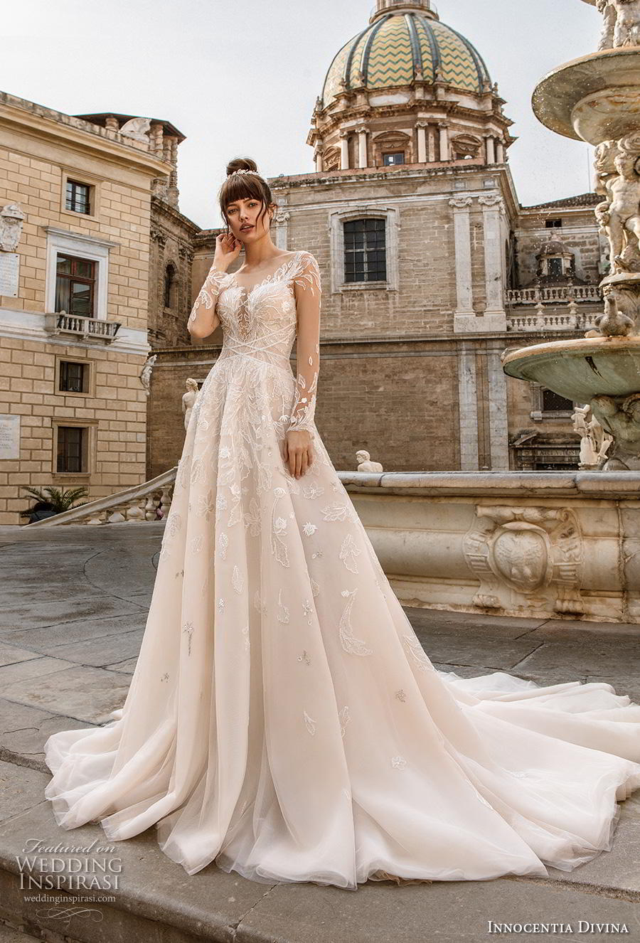 innocentia divina 2020 bridal long sleeves illusion bateau sweetheart neckline full embellishment romantic a  line wedding dress backless chapel train (13) mv