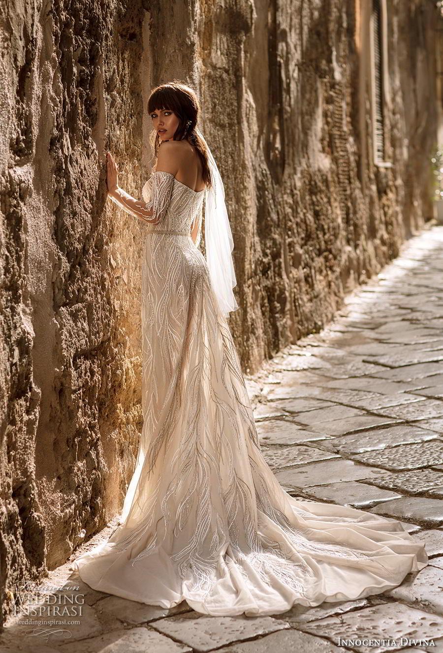 innocentia divina 2020 bridal long sleeves off the shoulder semi sweetheart neckline full embellishment romantic a  line wedding dress mid back chapel train (6) bv