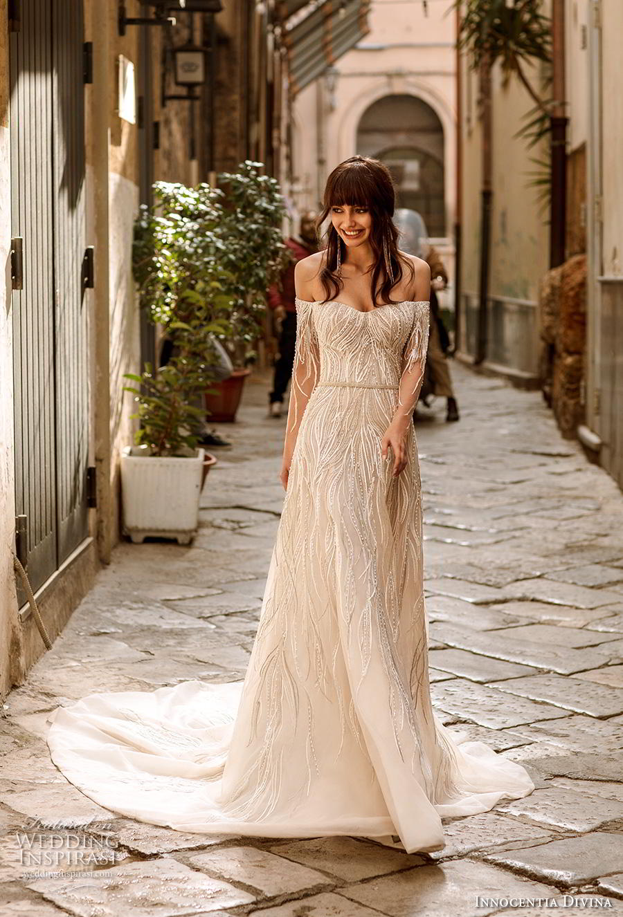 innocentia divina 2020 bridal long sleeves off the shoulder semi sweetheart neckline full embellishment romantic a  line wedding dress mid back chapel train (6) mv