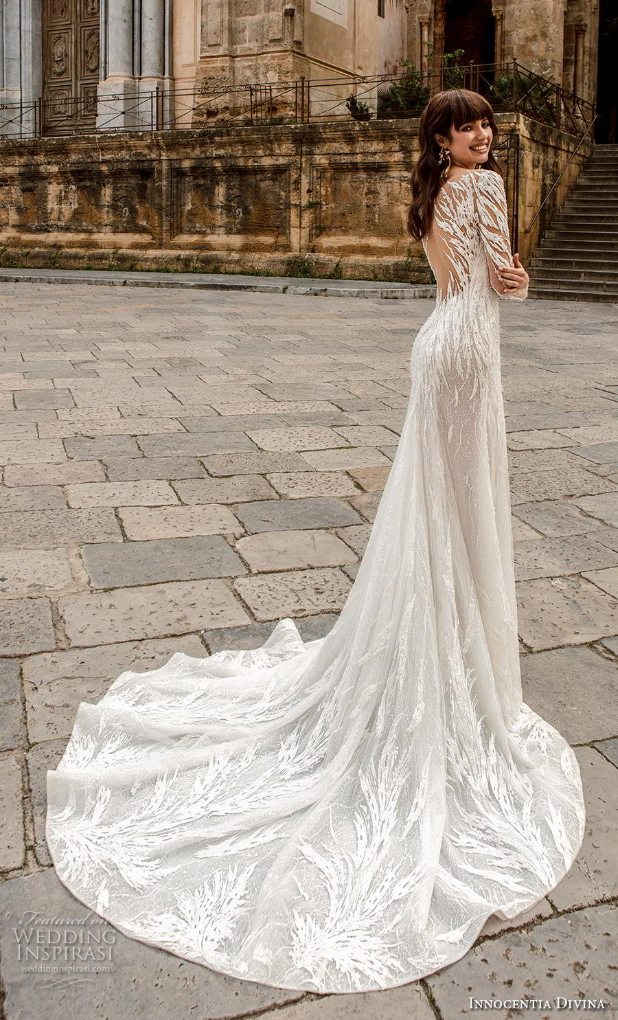 innocentia divina 2020 bridal long sleeves sweetheart neckline full embellishment slit skirt sexy glamorous modified a  line wedding dress sheer lace back chapel train (11) bv