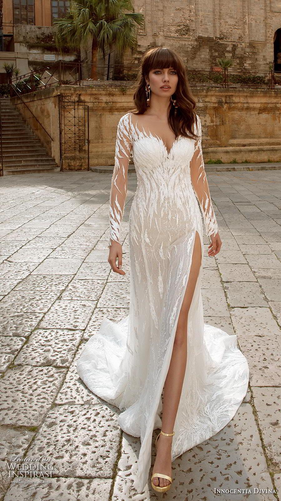 innocentia divina 2020 bridal long sleeves sweetheart neckline full embellishment slit skirt sexy glamorous modified a  line wedding dress sheer lace back chapel train (11) mv