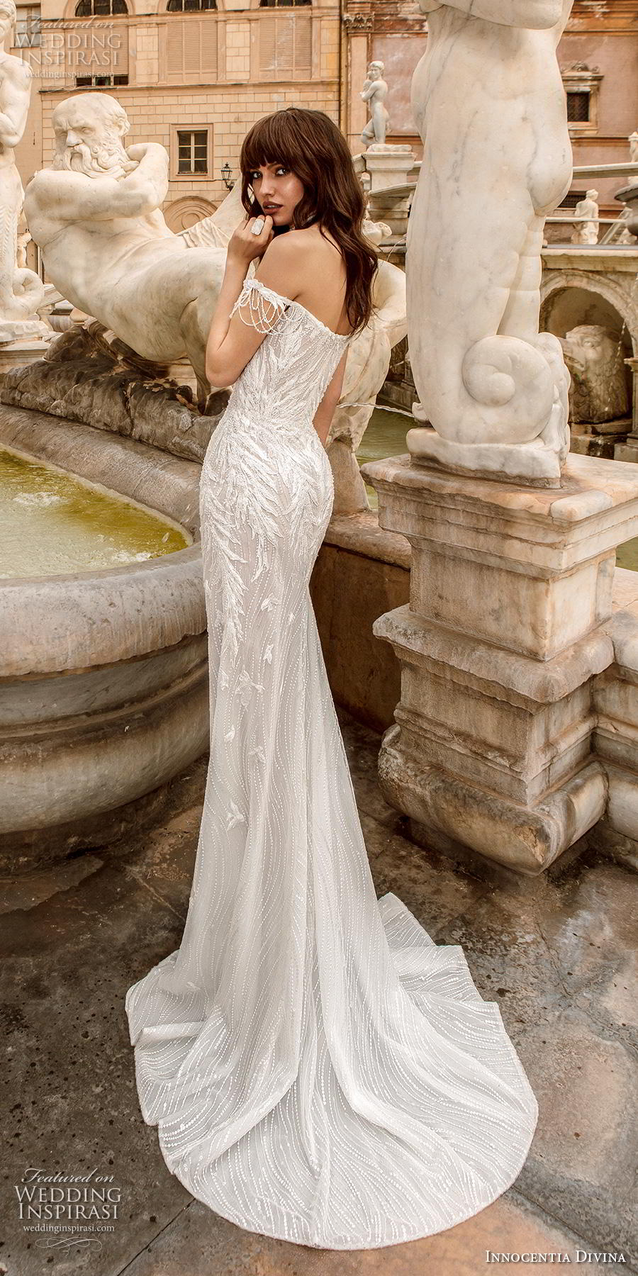 innocentia divina 2020 bridal off the shoulder semi sweetheart neckline elegant sheath wedding dress mid back short train (8) bv