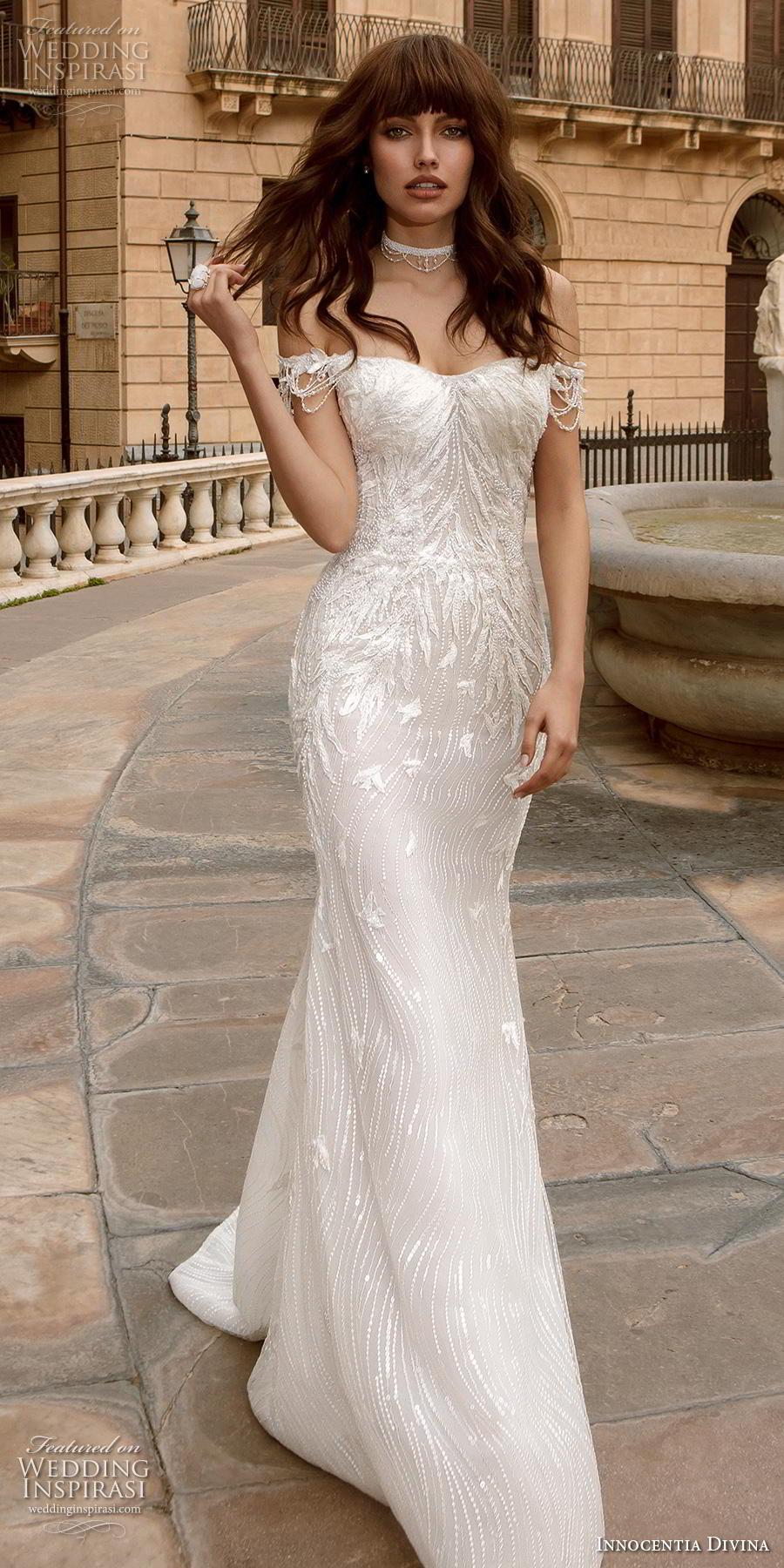 innocentia divina 2020 bridal off the shoulder semi sweetheart neckline elegant sheath wedding dress mid back short train (8) mv