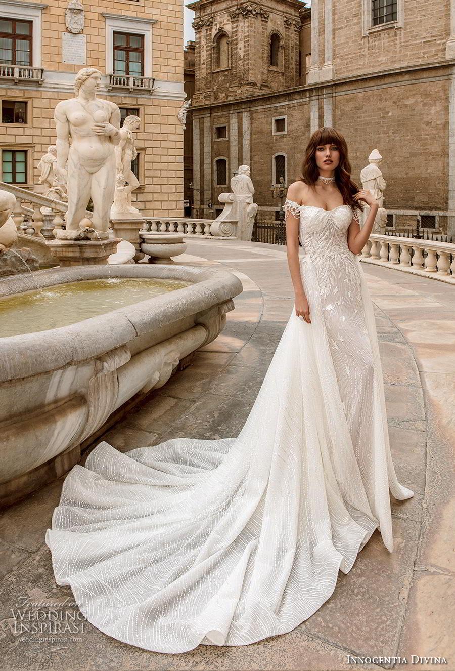 innocentia divina 2020 bridal off the shoulder semi sweetheart neckline romantic sheath wedding dress a  line overskirt mid back chapel train (8) mv