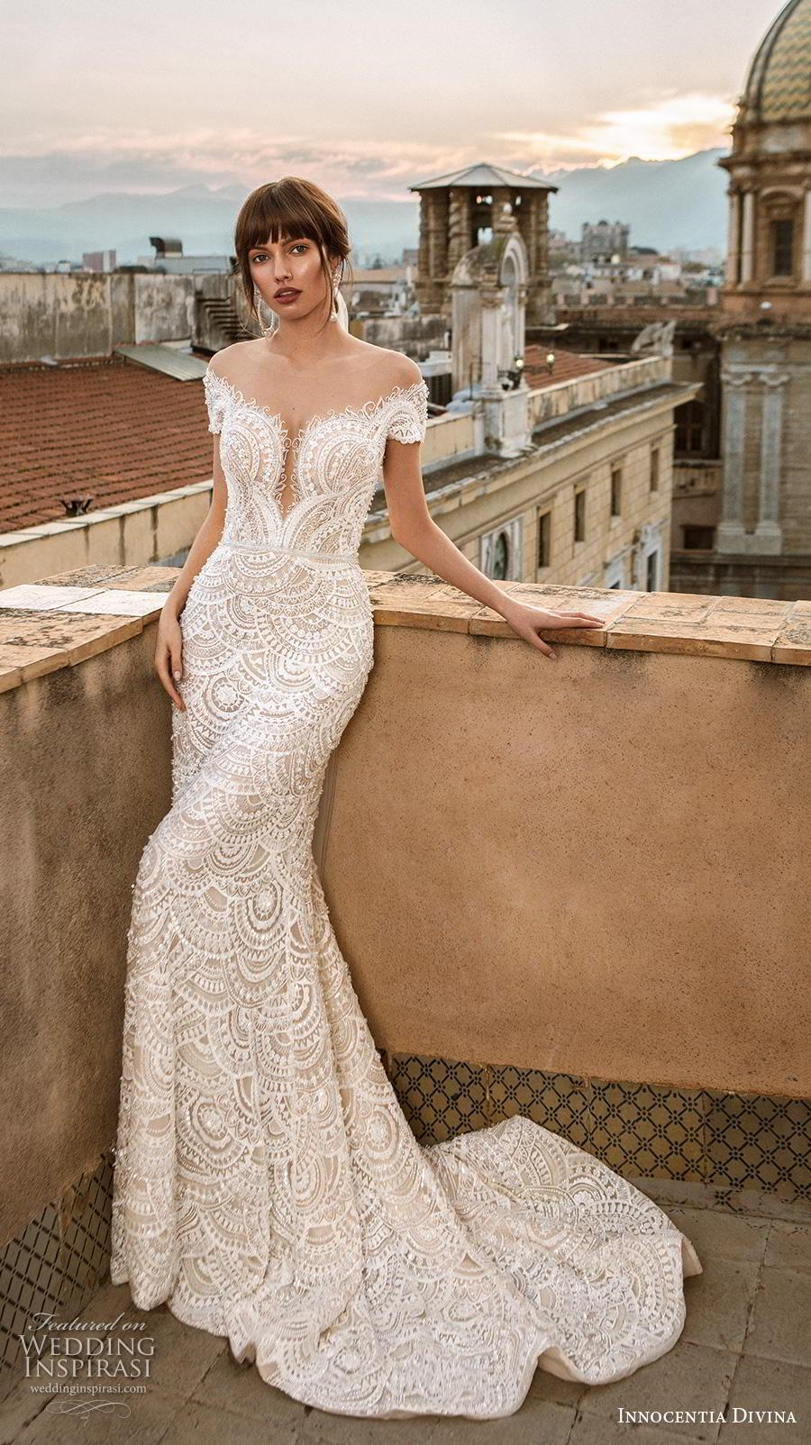 innocentia divina 2020 bridal short sleeves illusion bateau v neck full embellishment elegant fit and flare sheath wedding dress mid back medium train (9) mv