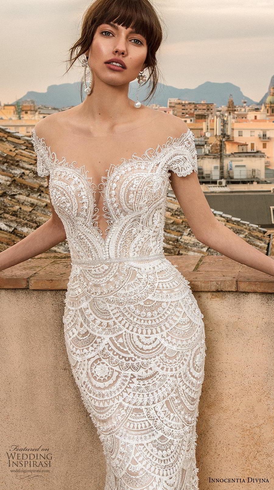 innocentia divina 2020 bridal short sleeves illusion bateau v neck full embellishment elegant fit and flare sheath wedding dress mid back medium train (9) zv