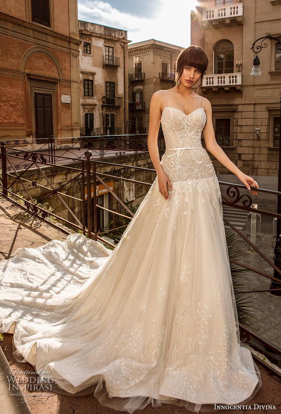 innocentia divina 2020 bridal sleeveless spaghetti strap sweetheart neckline heavily embellished bodice romantic a  line wedding dress mid back royal train (12) mv