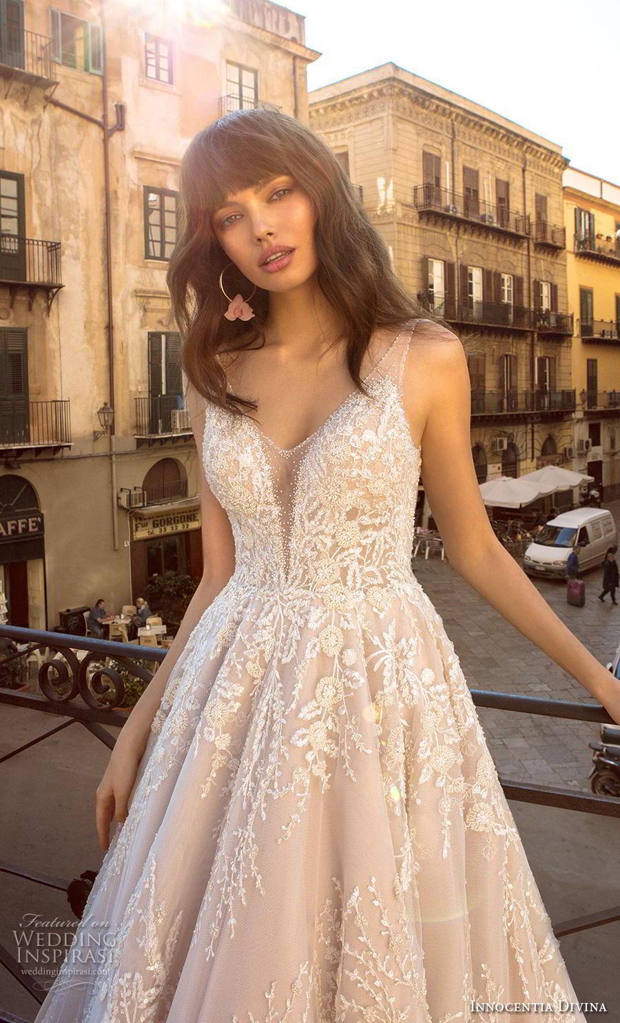 innocentia divina 2020 bridal sleeveless thin strap v neck full embellishment romantic a  line wedding dress backless v back royal train (2) zv