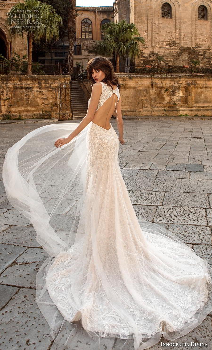innocentia divina 2020 bridal sleeveless v neck heavily embellished bodice elegant glamorous a  line wedding dress keyhole back chapel train (1) bv