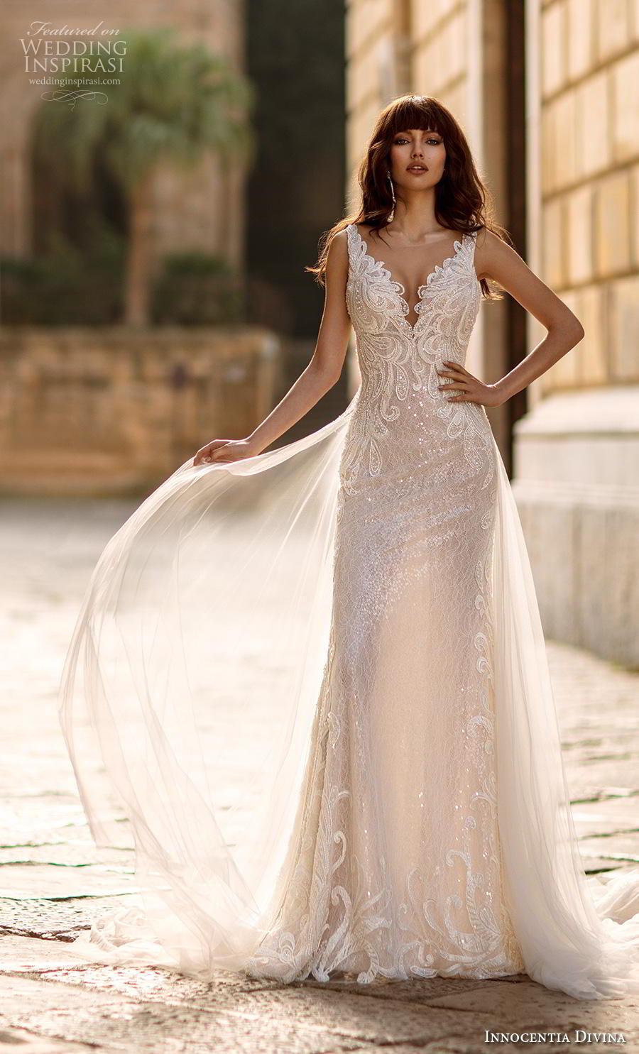 innocentia divina 2020 bridal sleeveless v neck heavily embellished bodice elegant glamorous a  line wedding dress keyhole back chapel train (1) mv