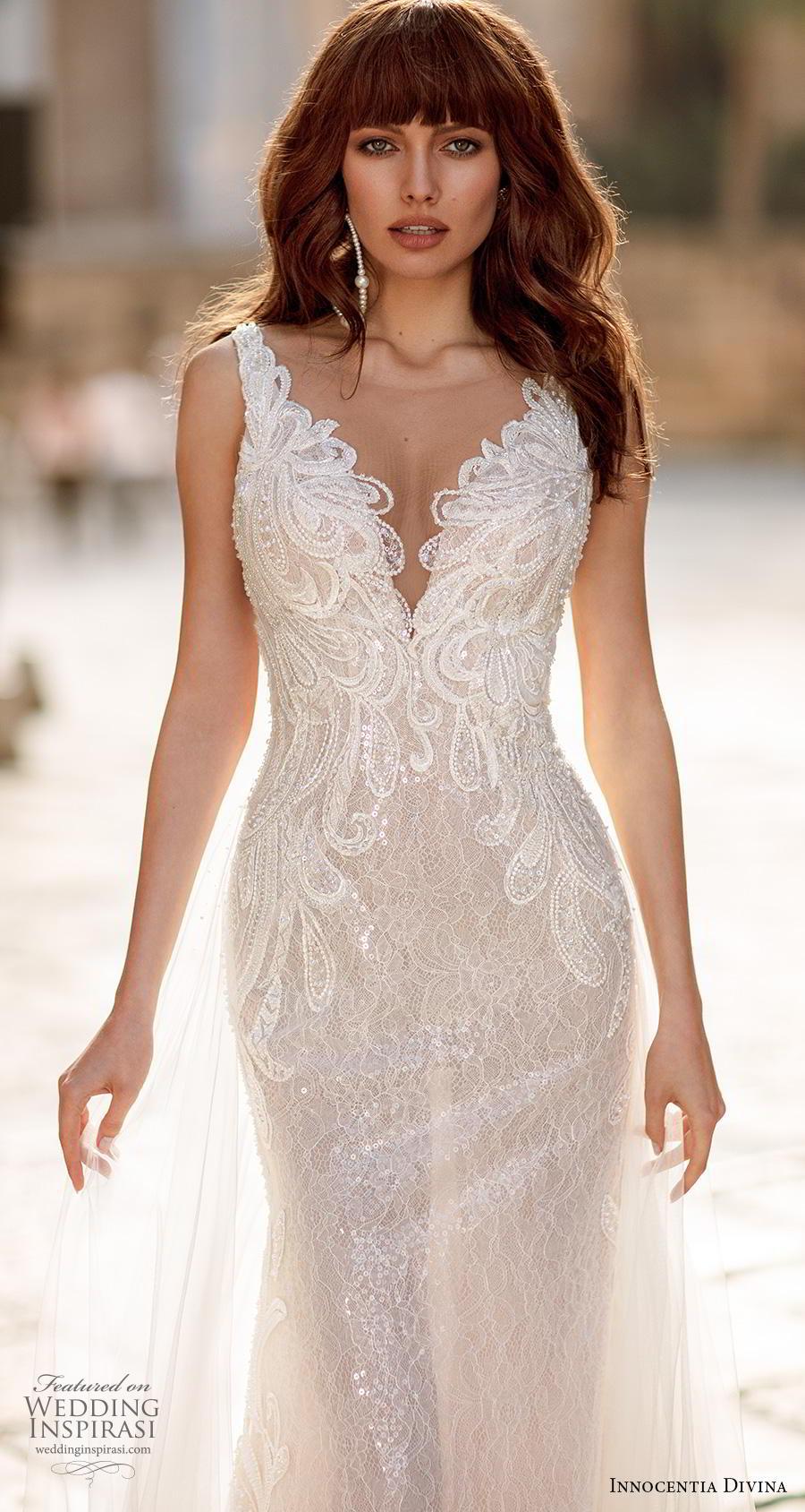 innocentia divina 2020 bridal sleeveless v neck heavily embellished bodice elegant glamorous a  line wedding dress keyhole back chapel train (1) zv