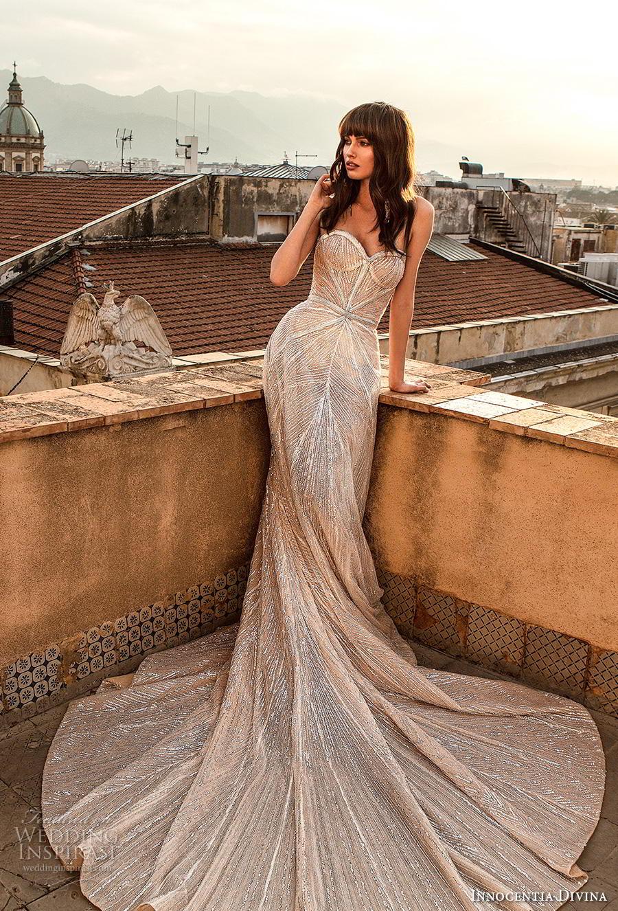 innocentia divina 2020 bridal strapless sweetheart neckline full embellishment elegant glamorous fit and flare wedding dress  mid back royal train (5) mv