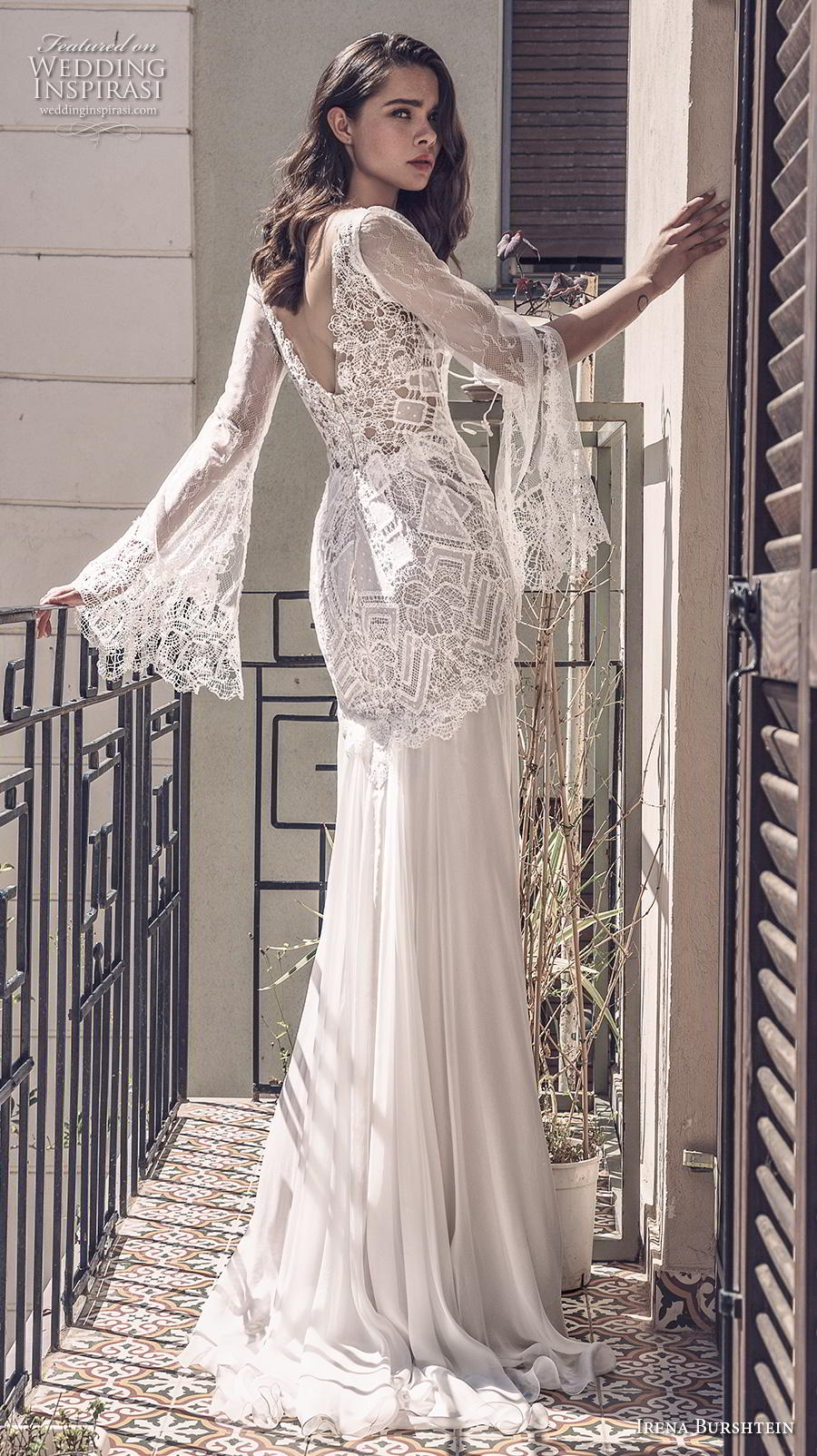 irena burshtein 2020 bridal long bell sleeves v neck heavily embellished bodice bohemian sheath wedding dress v back sweep train (3) bv