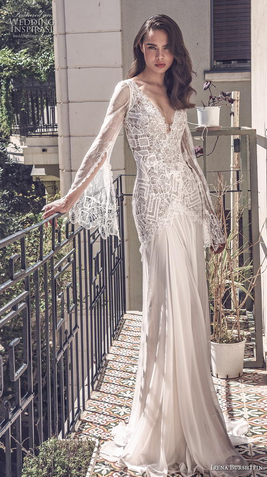irena burshtein 2020 bridal long bell sleeves v neck heavily embellished bodice bohemian sheath wedding dress v back sweep train (3) mv