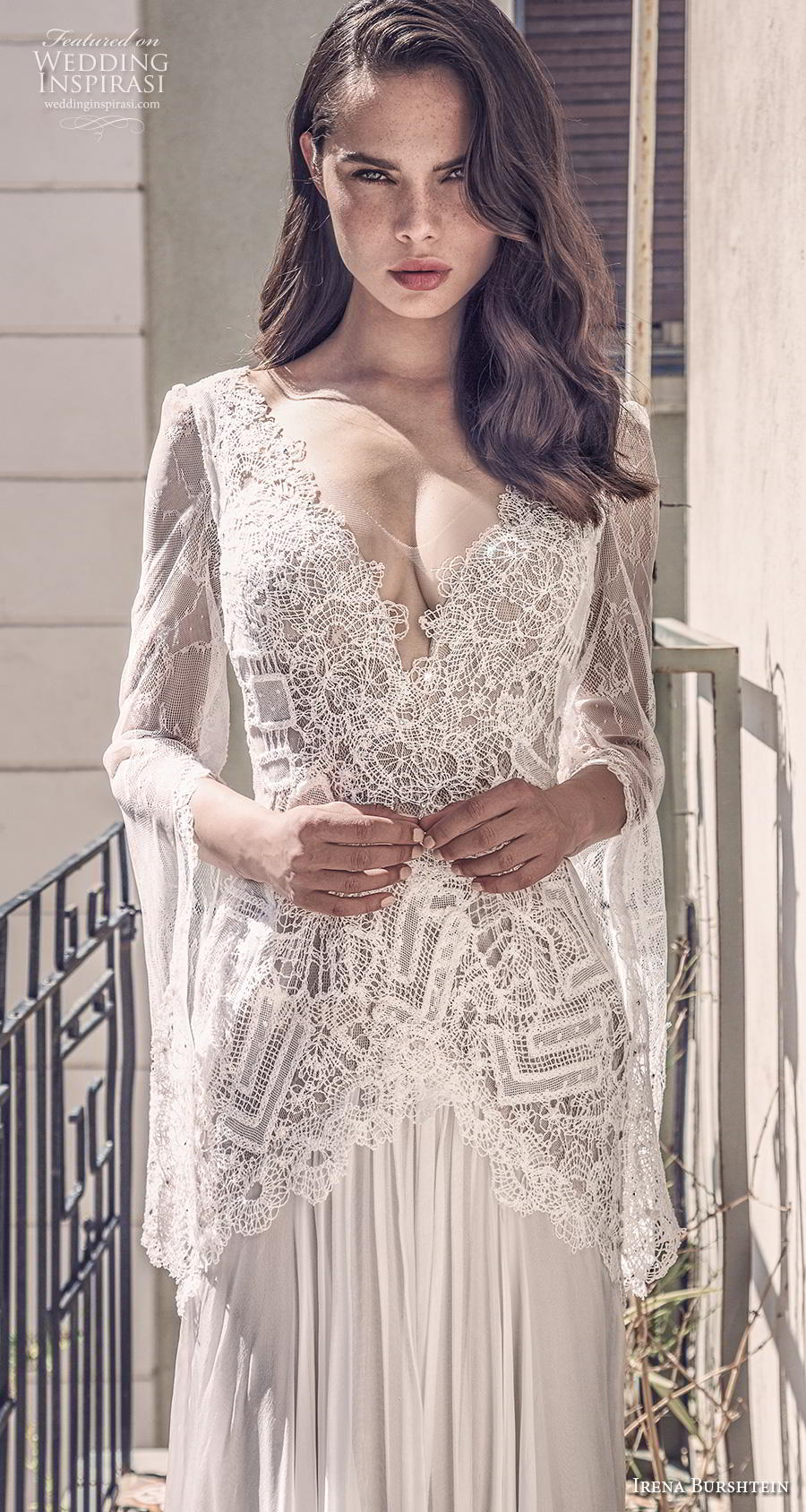 irena burshtein 2020 bridal long bell sleeves v neck heavily embellished bodice bohemian sheath wedding dress v back sweep train (3) zv