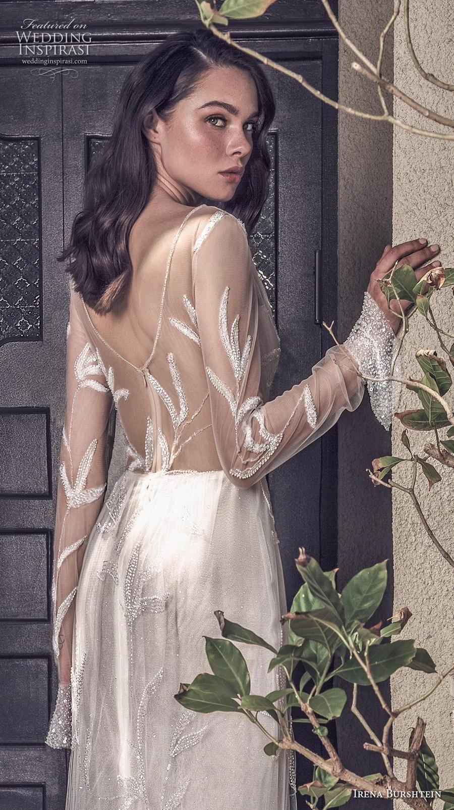 irena burshtein 2020 bridal long sheer sleeves deep v neck full embellishment slit skirt romantic sexy modified a  line wedding dress v back sweep train (5) bv