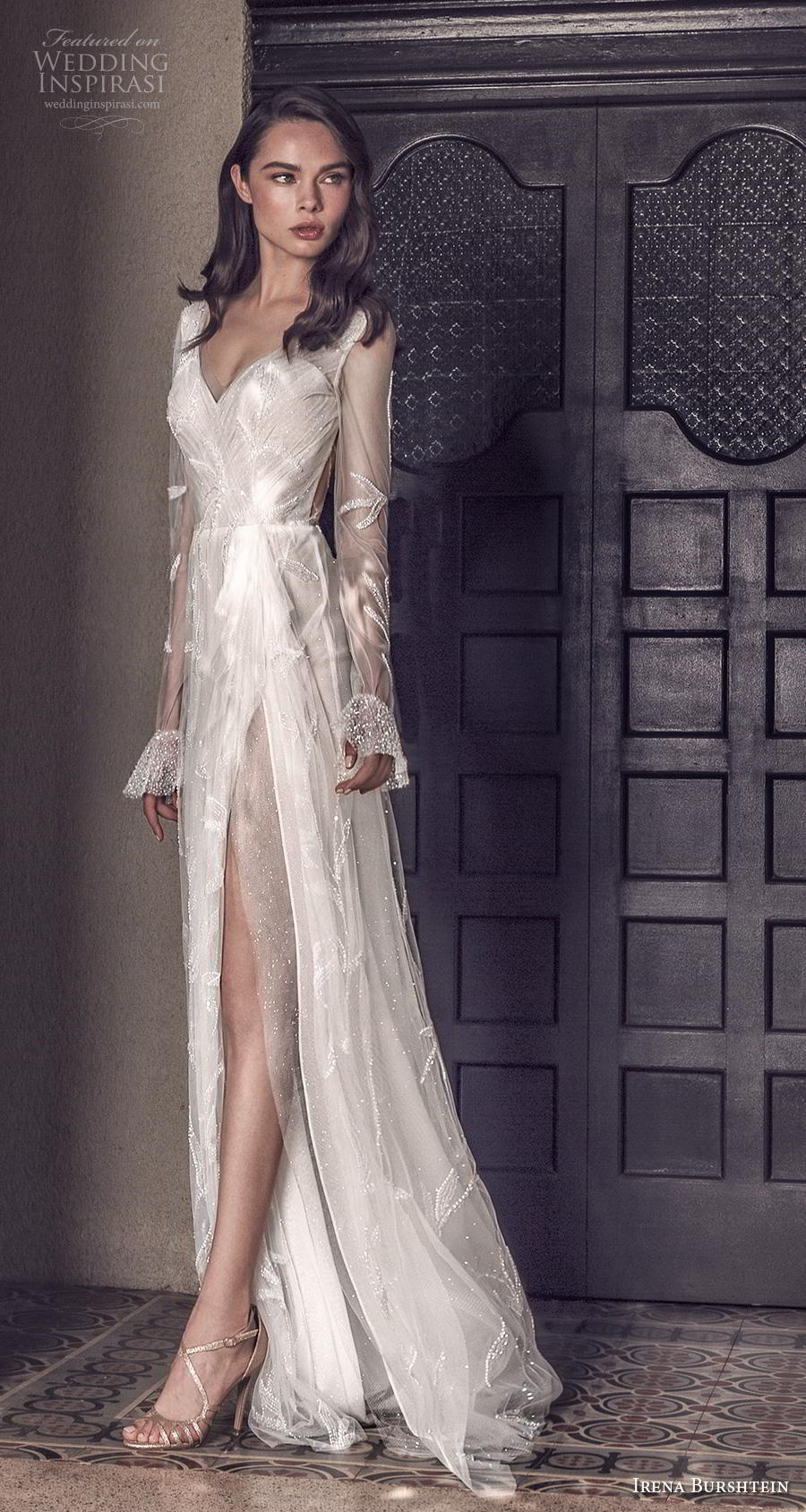 irena burshtein 2020 bridal long sheer sleeves deep v neck full embellishment slit skirt romantic sexy modified a  line wedding dress v back sweep train (5) mv