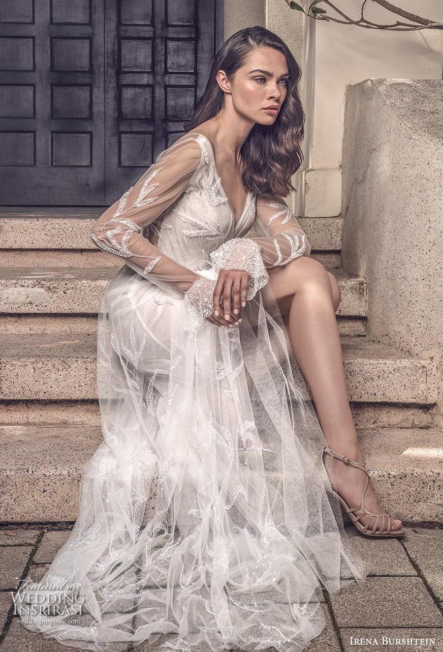 irena burshtein 2020 bridal long sheer sleeves deep v neck full embellishment slit skirt romantic sexy modified a  line wedding dress v back sweep train (5) mv