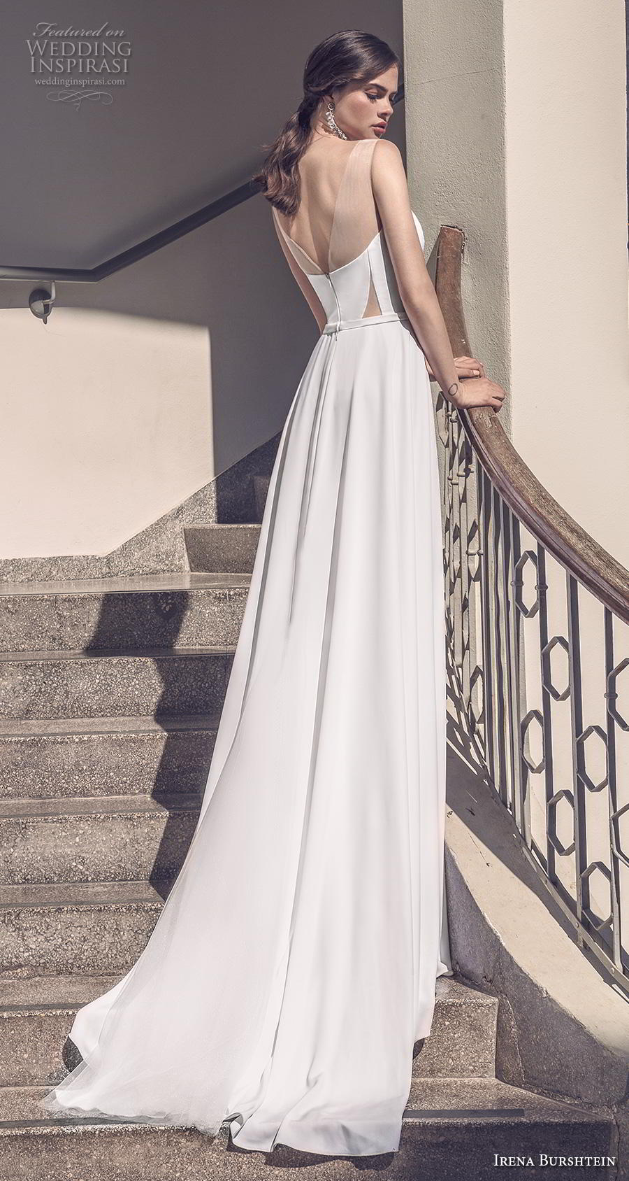 irena burshtein 2020 bridal sleeveless deep sweetheart neckline simple minimalist elegant slit skirt sheath wedding dress backless v back chapel train (7) bv
