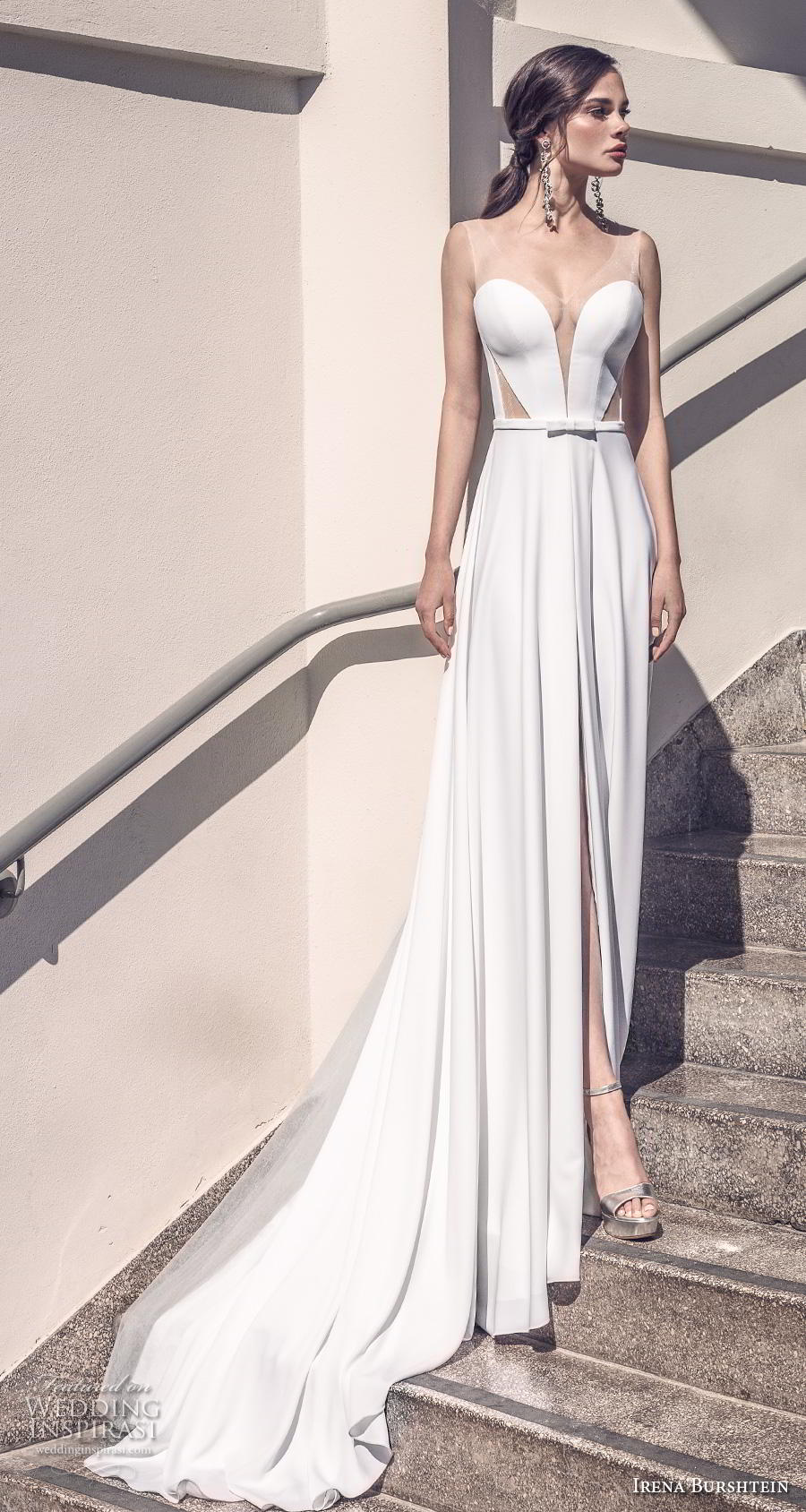irena burshtein 2020 bridal sleeveless deep sweetheart neckline simple minimalist elegant slit skirt sheath wedding dress backless v back chapel train (7) mv