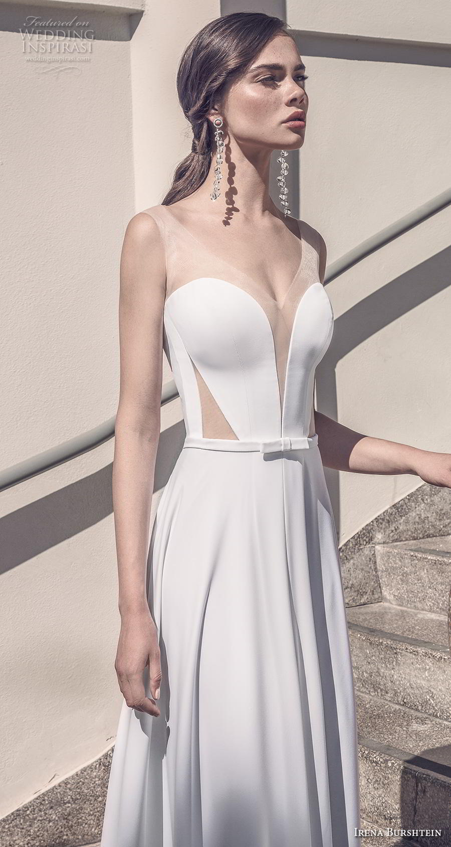 irena burshtein 2020 bridal sleeveless deep sweetheart neckline simple minimalist elegant slit skirt sheath wedding dress backless v back chapel train (7) zv