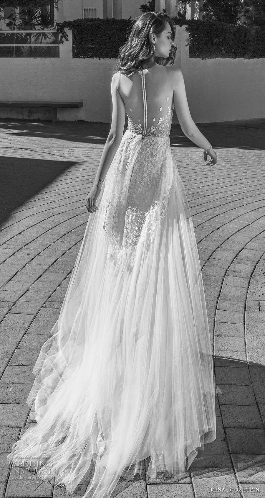 irena burshtein 2020 bridal sleeveless illusion bateau sweetheart neckline full embellishment romantic soft a  line wedding dress sheer button back chapel train (1) bv
