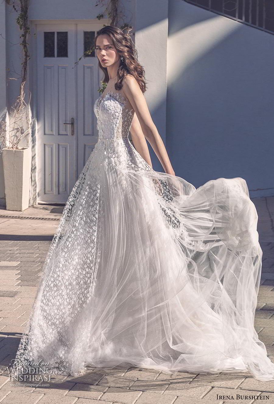 irena burshtein 2020 bridal sleeveless illusion bateau sweetheart neckline full embellishment romantic soft a  line wedding dress sheer button back chapel train (1) mv