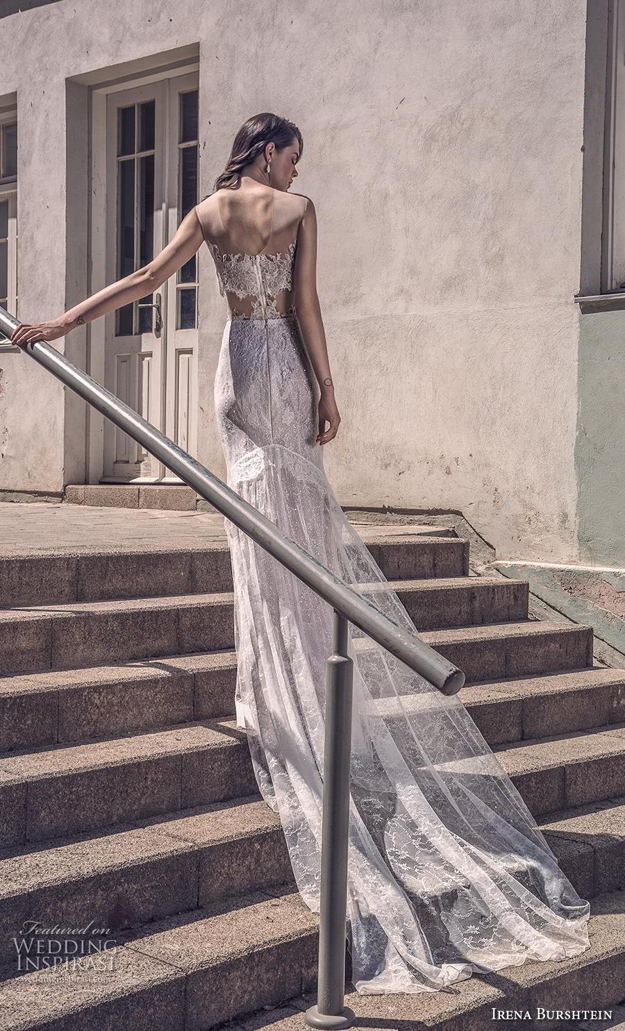 irena burshtein 2020 bridal sleeveless illusion scoop deep plunging sweetheart neckline full embellishment elegant romantic fit and flare wedding dress mid back chapel train (12) bv