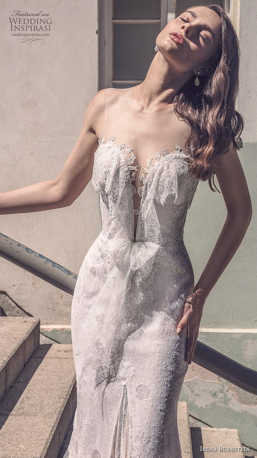 irena burshtein 2020 bridal sleeveless illusion scoop deep plunging sweetheart neckline full embellishment elegant romantic fit and flare wedding dress mid back chapel train (12) mv zv