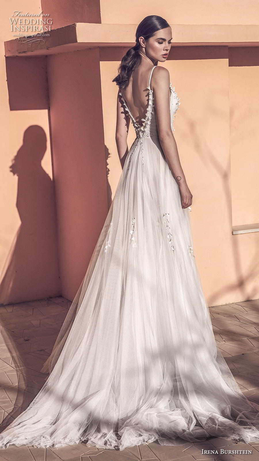 irena burshtein 2020 bridal sleeveless thin strap deep plunging sweetheart neckline heavily embellished bodice tulle skirt romantic soft a  line wedding dress backless v back chapel train (9) bv