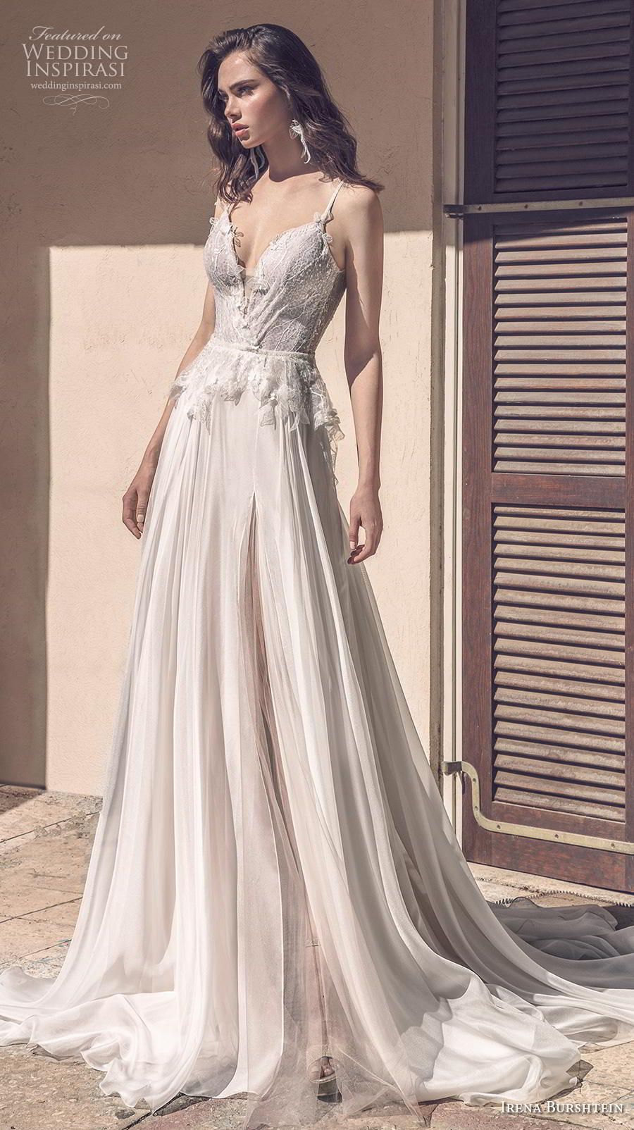 irena burshtein 2020 bridal sleeveless thin strap deep sweetheart neckline heavily embellished bodice romantic soft a  line wedding dress backless scoop back chapel train (2) mv