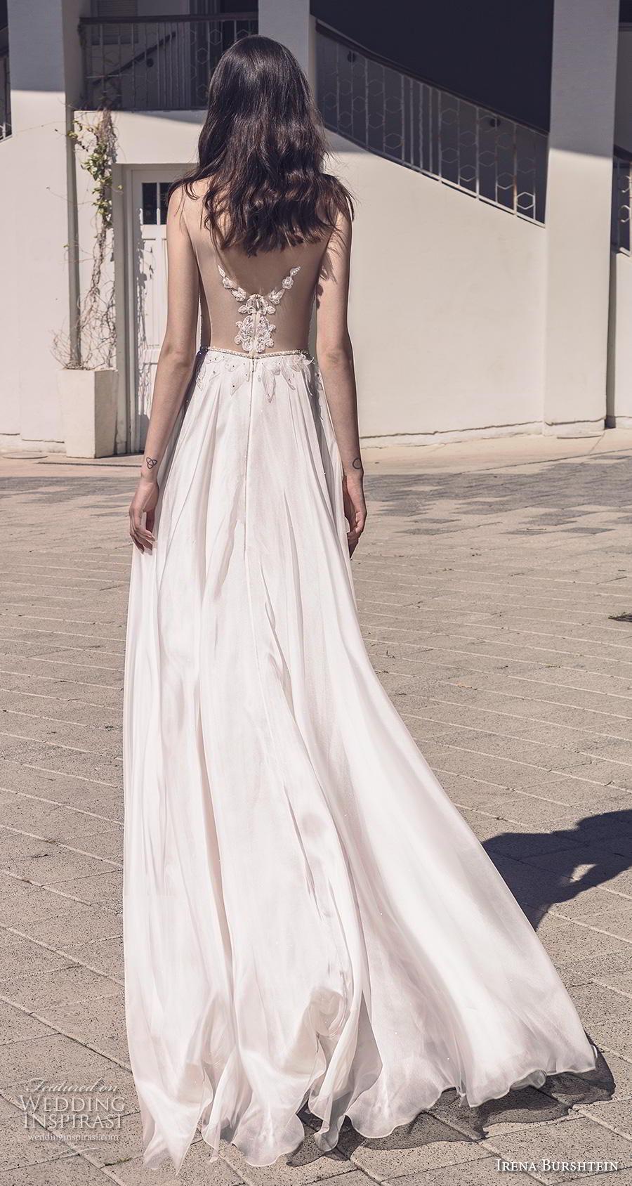 irena burshtein 2020 bridal sleeveless thin strap deep sweetheart neckline heavily embellished bodice romantic soft a  line wedding dress v back chapel train (6) bv