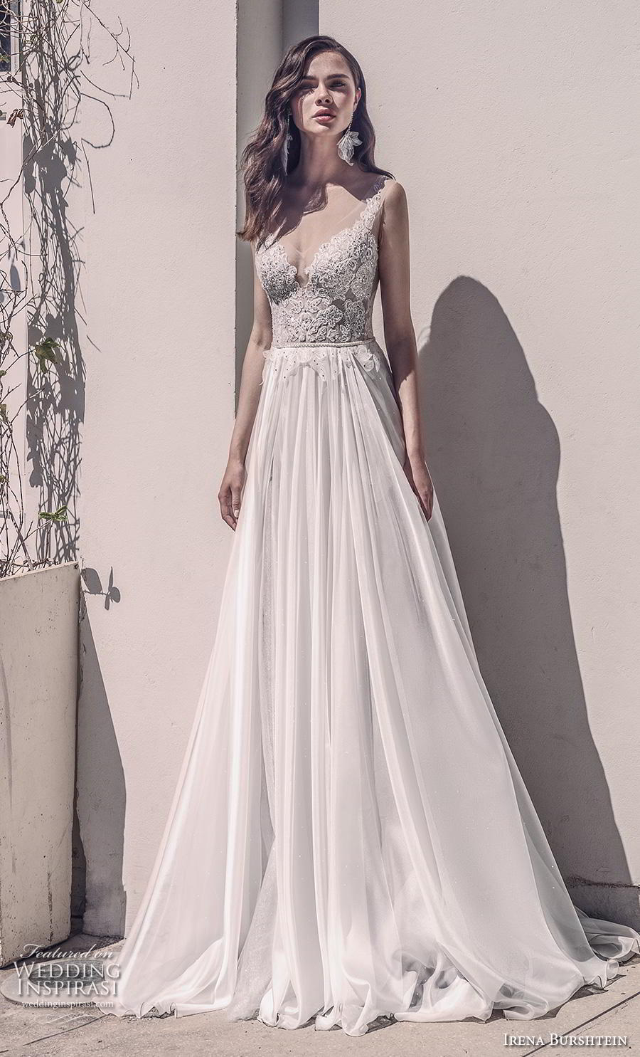irena burshtein 2020 bridal sleeveless thin strap deep sweetheart neckline heavily embellished bodice romantic soft a  line wedding dress v back chapel train (6) mv