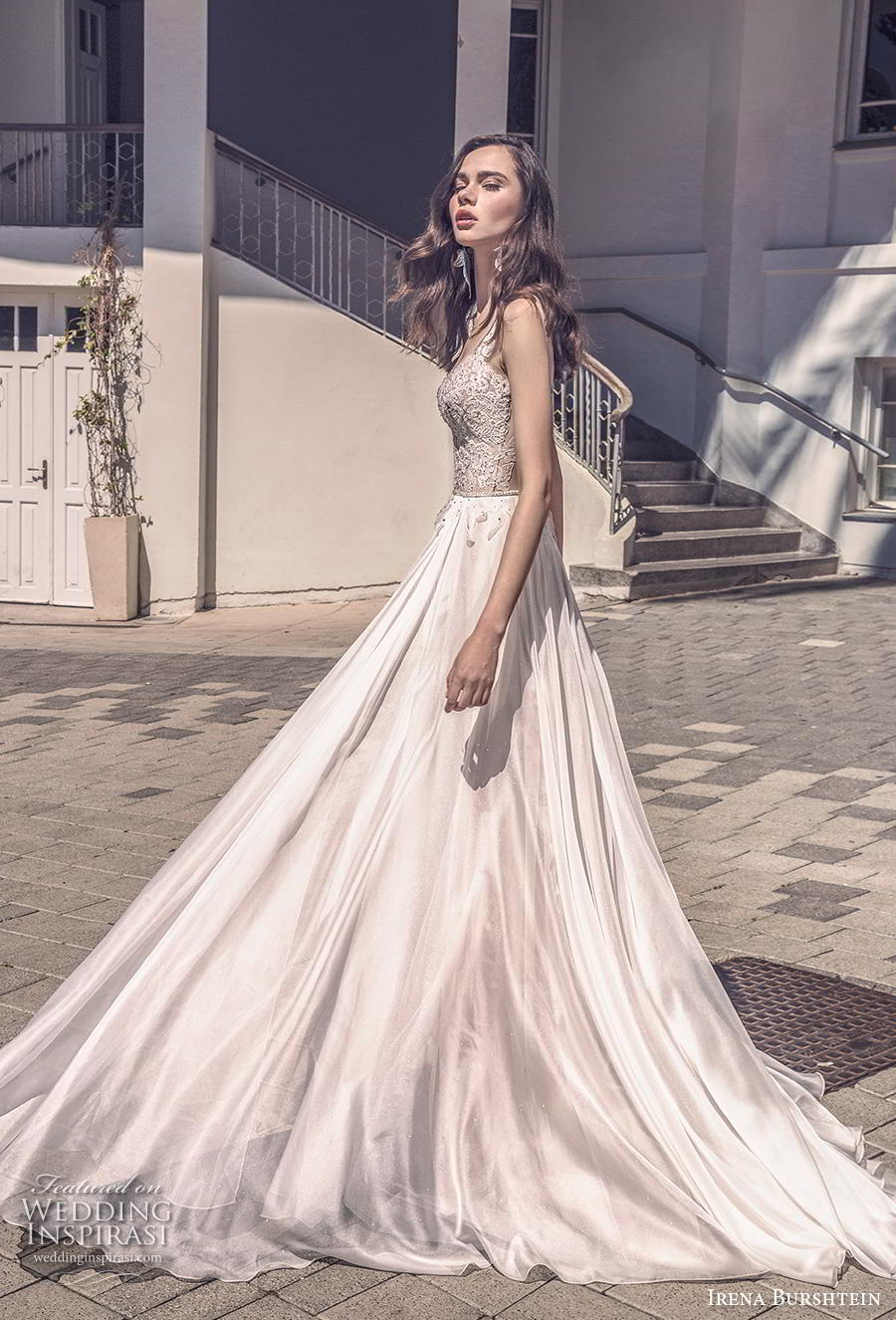 irena burshtein 2020 bridal sleeveless thin strap deep sweetheart neckline heavily embellished bodice romantic soft a  line wedding dress v back chapel train (6) mv