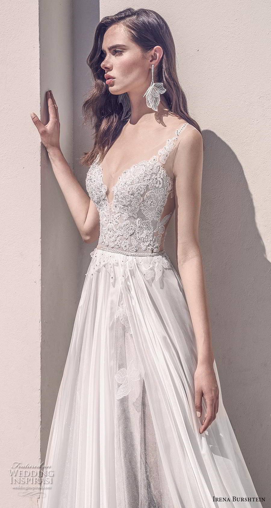 irena burshtein 2020 bridal sleeveless thin strap deep sweetheart neckline heavily embellished bodice romantic soft a  line wedding dress v back chapel train (6) zv