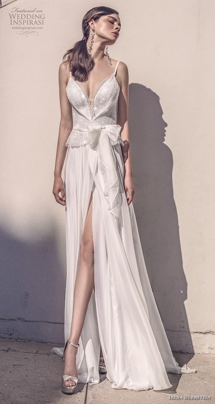 irena burshtein 2020 bridal sleeveless thin strap deep sweetheart neckline heavily embellished bodice slit skirt glamorous soft a  line wedding dress sweep train (8) mv