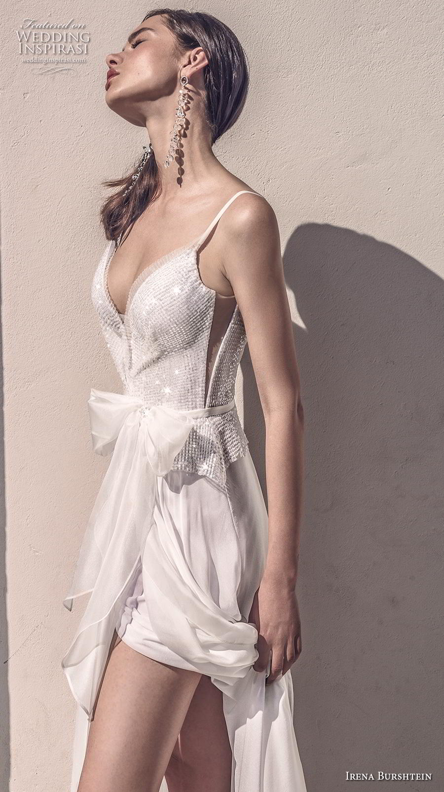 irena burshtein 2020 bridal sleeveless thin strap deep sweetheart neckline heavily embellished bodice slit skirt glamorous soft a  line wedding dress sweep train (8) zv
