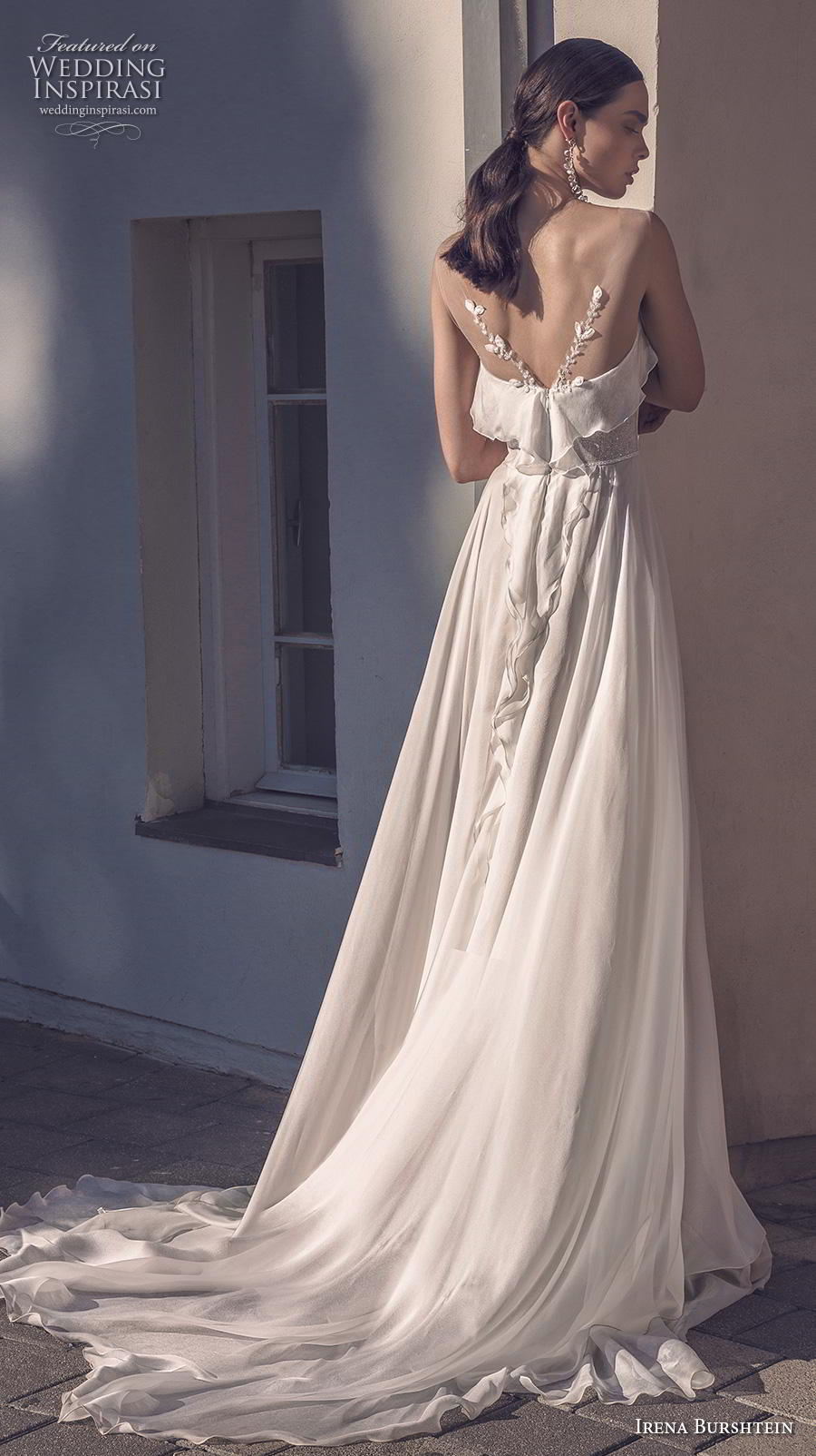 irena burshtein 2020 bridal sleeveless thin strap deep sweetheart neckline simple bohemian soft a  line wedding dress v back medium train (11) bv