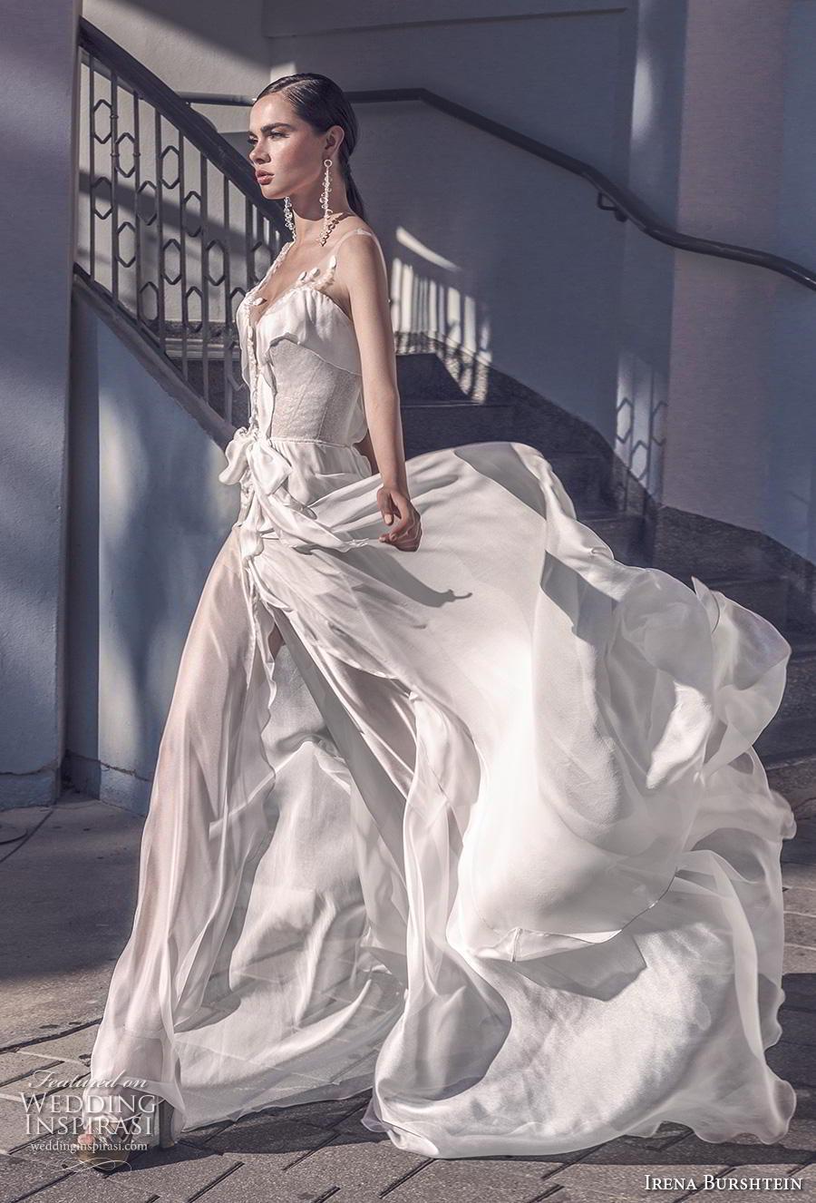 irena burshtein 2020 bridal sleeveless thin strap deep sweetheart neckline simple bohemian soft a  line wedding dress v back medium train (11) mv