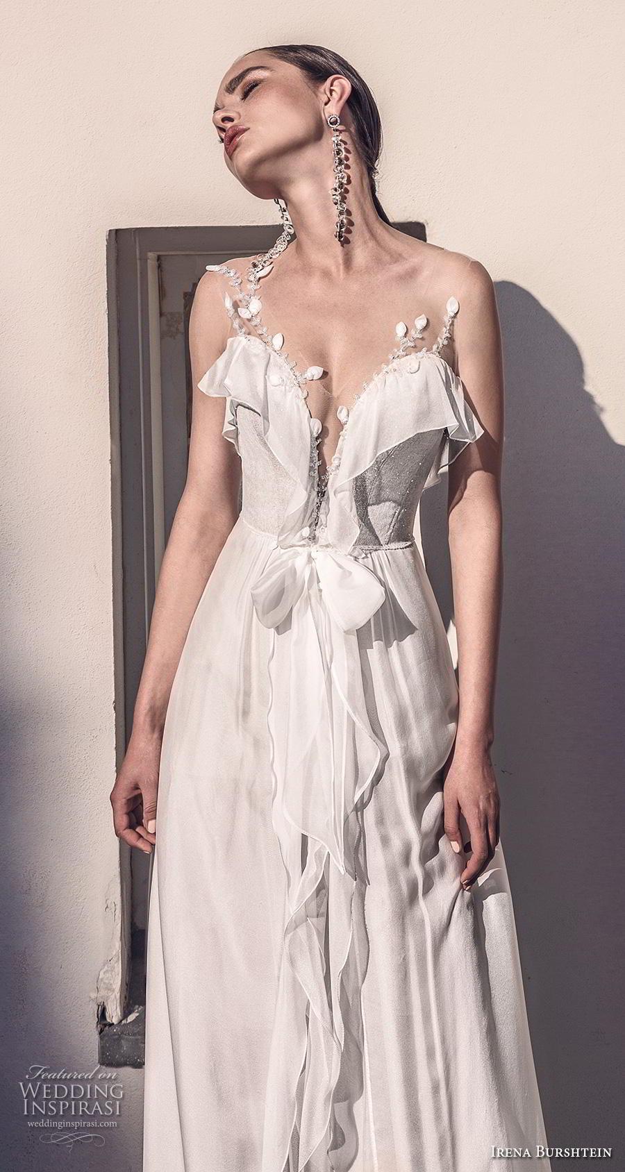 irena burshtein 2020 bridal sleeveless thin strap deep sweetheart neckline simple bohemian soft a  line wedding dress v back medium train (11) zv