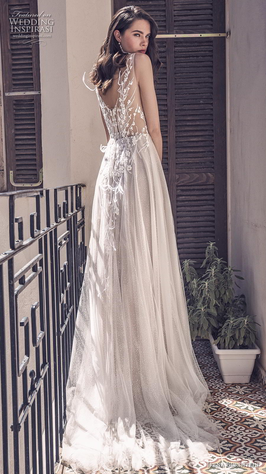 irena burshtein 2020 bridal sleeveless with strap sweetheart neckline heavily embellished bodice romantic modified a  line wedding dress v back medium train (4) bv